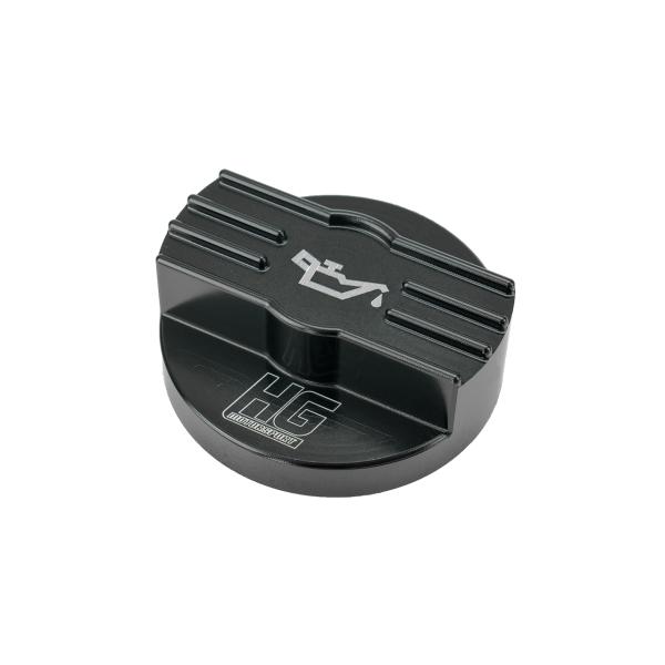 Öldeckel schwarz mit HG-Motorsport Logo für MQB Plattform z.B. Golf 7
